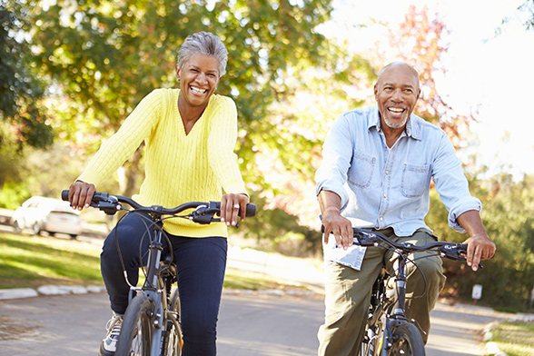 African American Couple on Bike