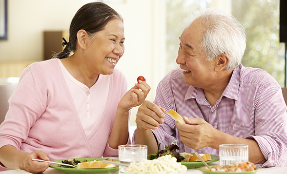 Asian Couple Eating